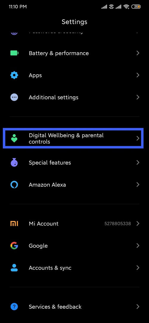 Go to setting and select Digital wellbeing