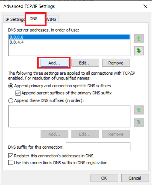 Next, switch to the DNS tab and click on Add...