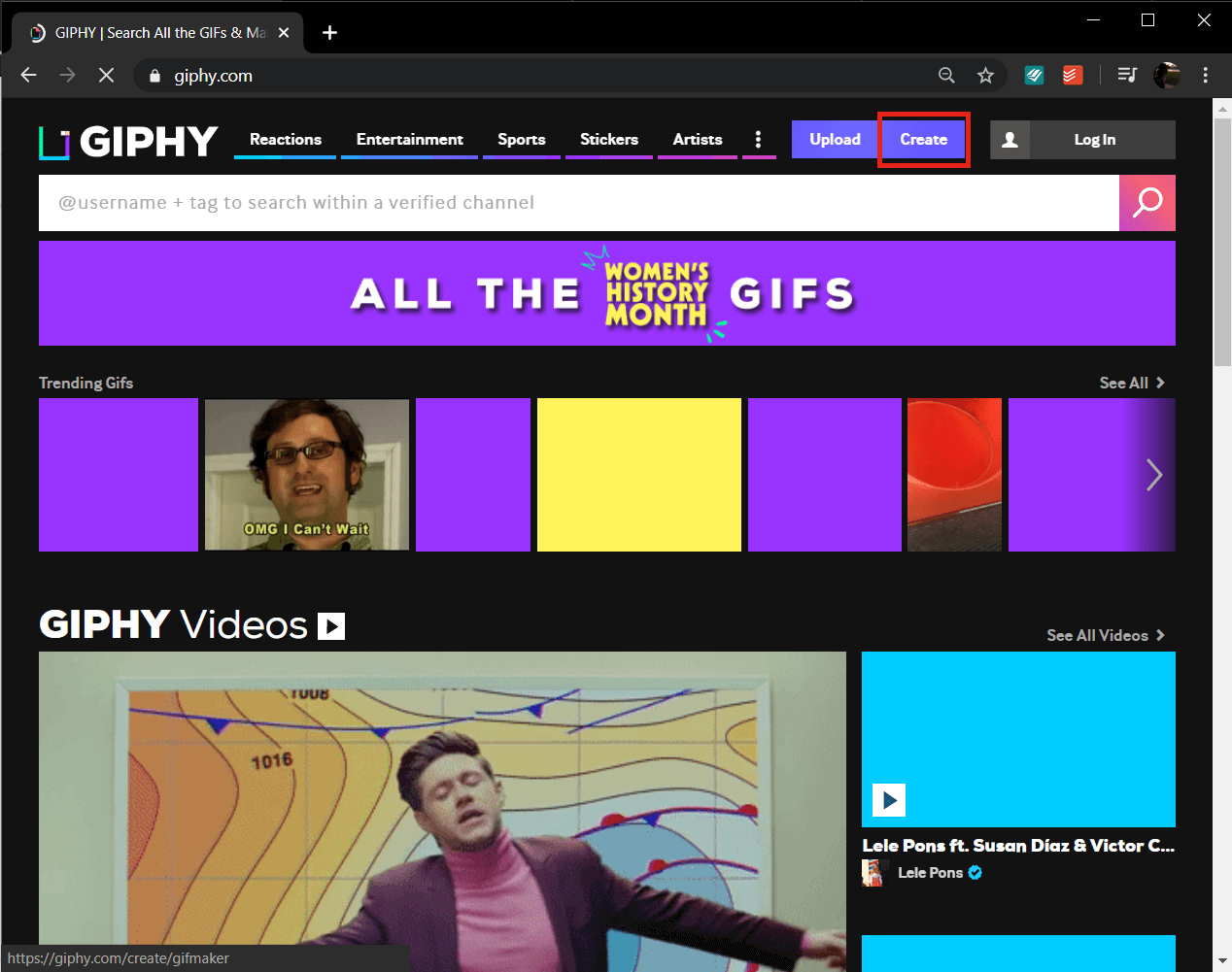 On the top right side look for the option to Create a GIF and click on it