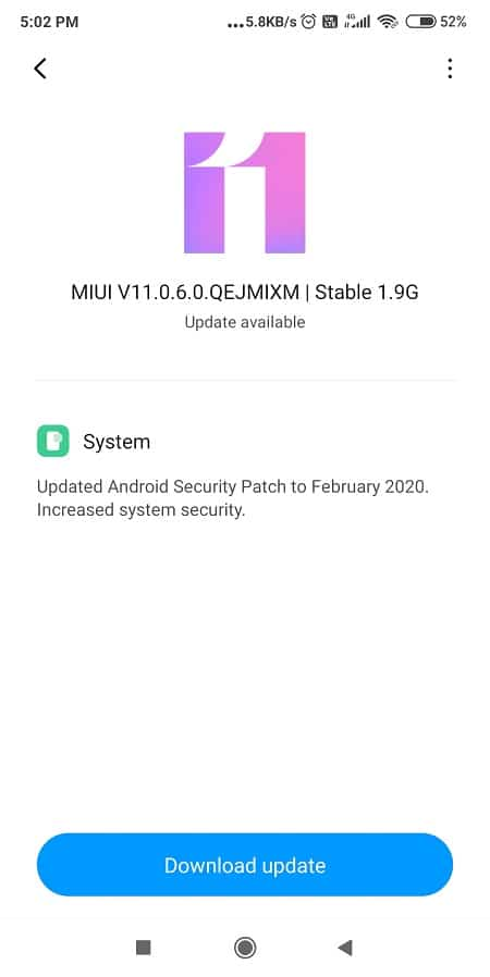 Operating System Update