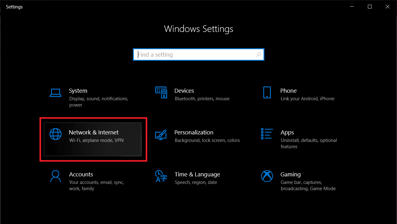 Press Windows key + X then click on Settings then look for Network & Internet