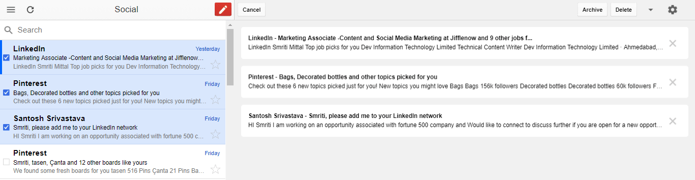 Select multiple emails for collective action