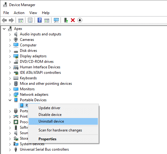 Simply right-click on the device's name and select Uninstall