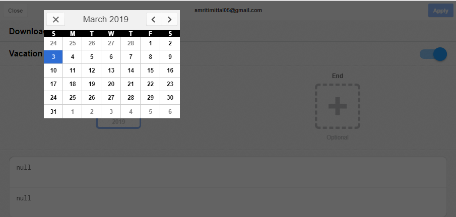 Tap on 'Start' and 'End' dates to select the time period of your choice