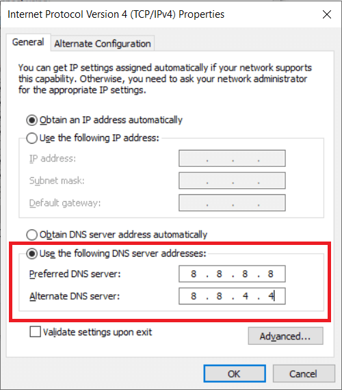 To use Google Public DNS, enter the value 8.8.8.8 and 8.8.4.4 under the Preferred DNS server and Alternate DNS server