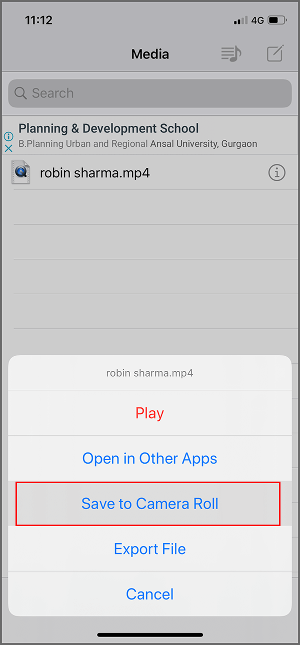 Under MyMedia app tap on the desired video and select 'Save to Camera Roll'
