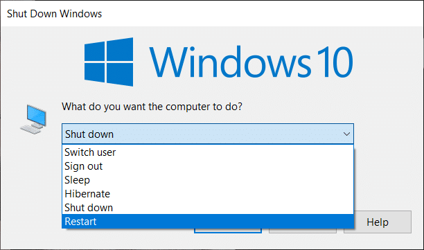 Alt+F4 Shortcut to Restart the PC