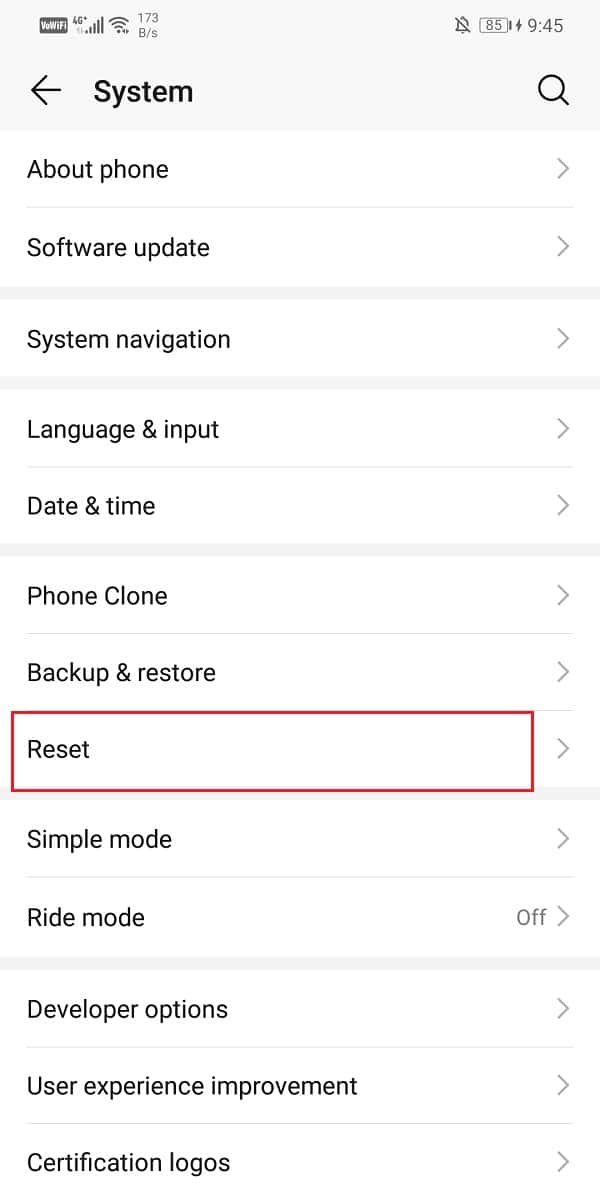Click on the Reset tab