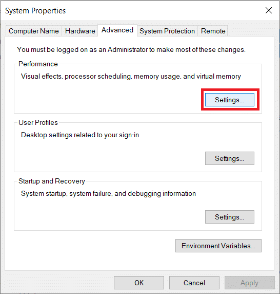 Click on the Settings button under the Performance label