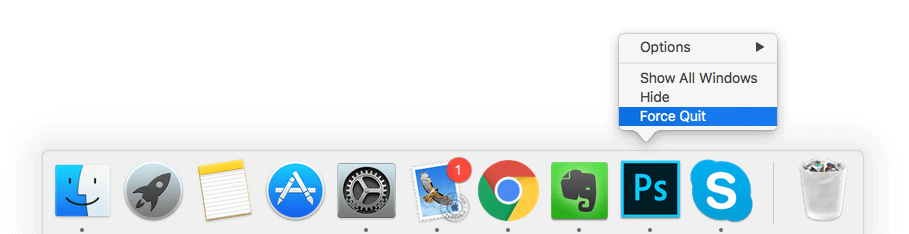 Force Quit the Applications from the Dock