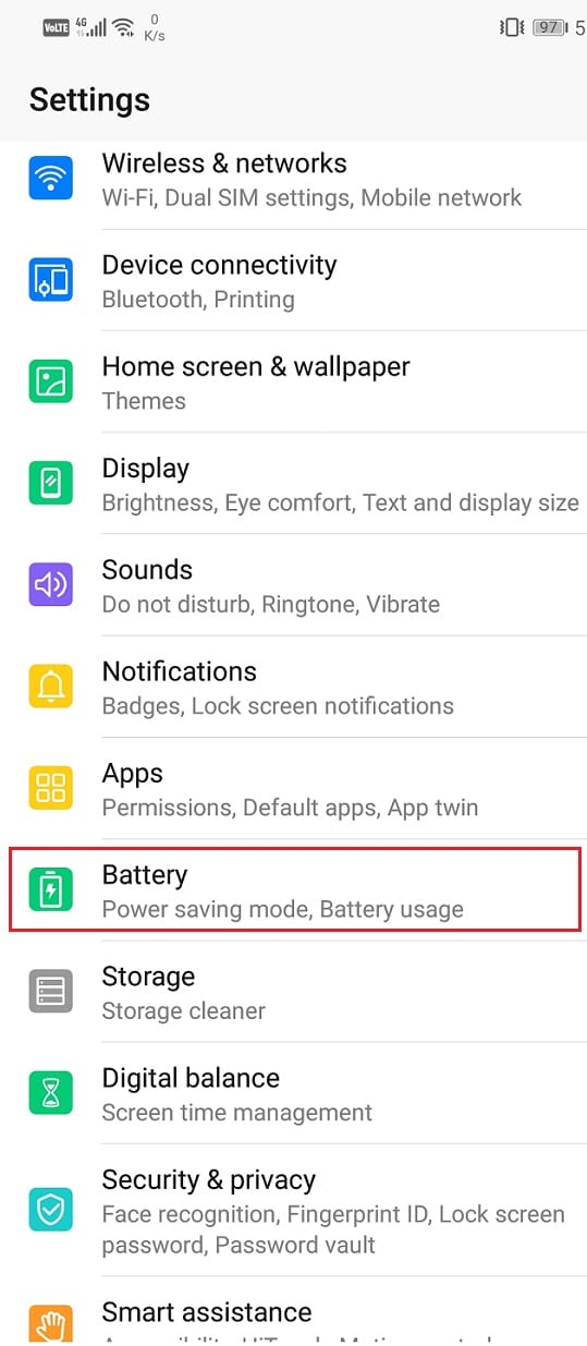 Go to the settings menu and locate the 'battery' section