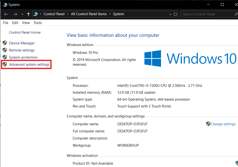 On the left side of the following window, click on Advanced System Settings
