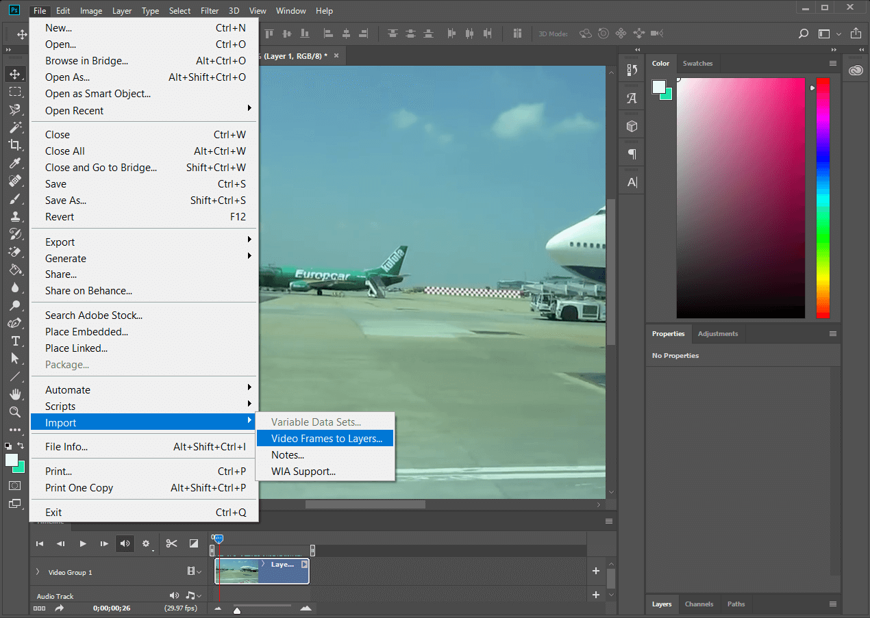 Once Photoshop then click on File, select Import and finally choose Video Frames to Layers