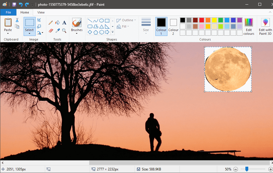 Press 'CTRL+V' to paste the previous selection onto the new image | How to Make Background Transparent in MS Paint
