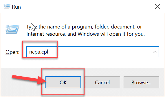 Press-Windows-Key-R-then-type-ncpa.cpl-and-hit-Enter | Fix Media Disconnected Error Message on Windows 10