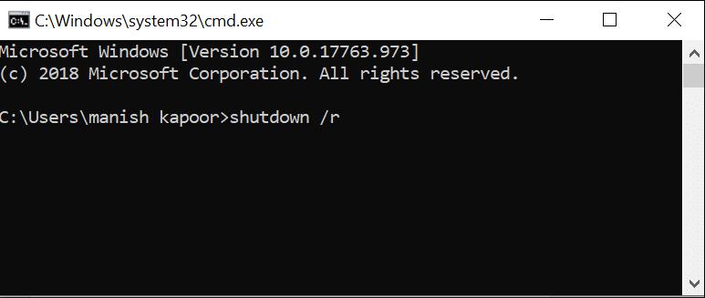 Restart Windows 10 using Command Prompt