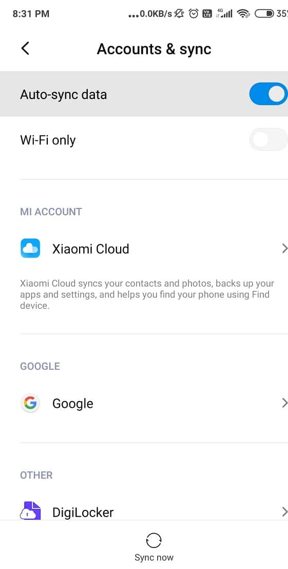 Search for Accounts Accounts and Sync in the menu list