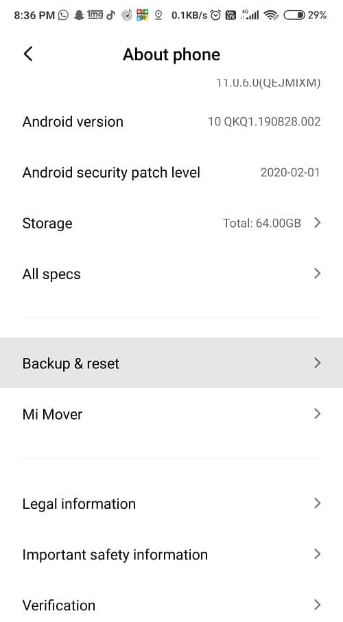 Select the Backup andreset button under About Phone option