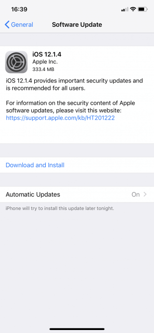 Tap download and install Software Update
