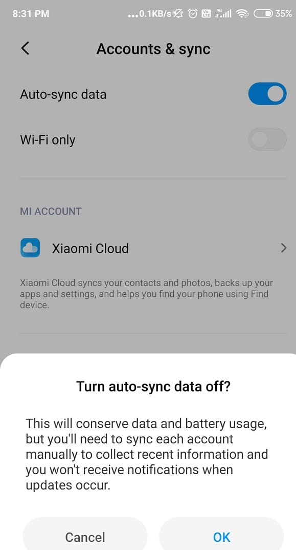 Tap on the Auto Sync Data option to switch it off. Wait for 15- 30 second and turn it back on