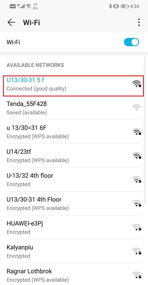 Tap on the name of the Wi-Fi that you are connected to