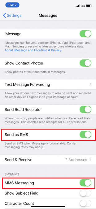 """Tap the """"Send as SMS"""" and """"MMS messaging"""" slider so it turns green in color"""