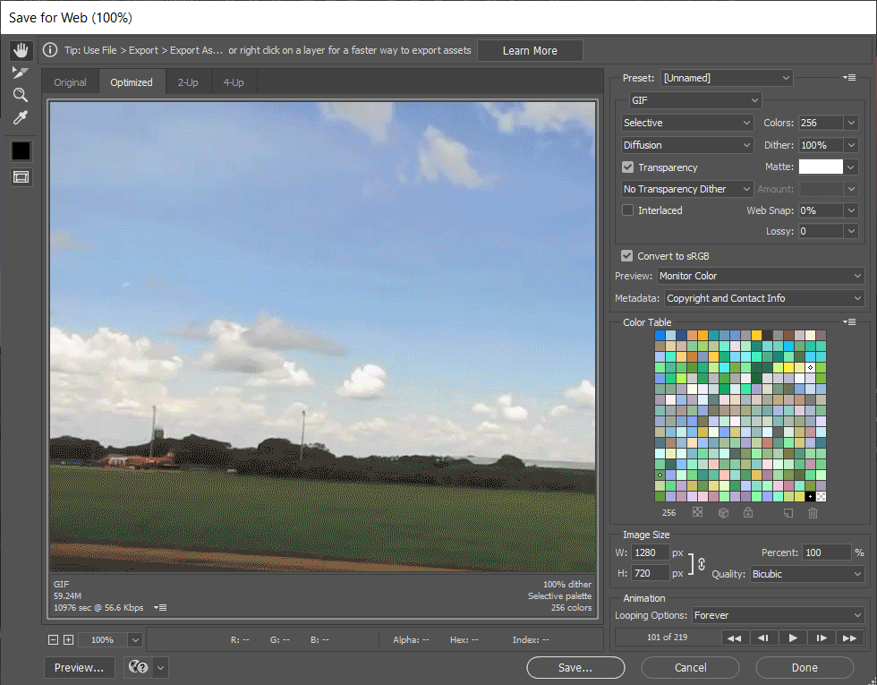 The Save for Web window will open, where you can customize various settings related to GIF