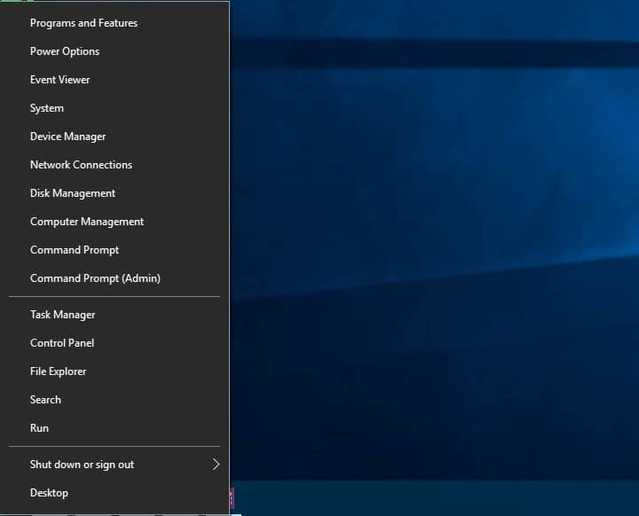 What is the Windows 10 Power user Menu (Win+X)