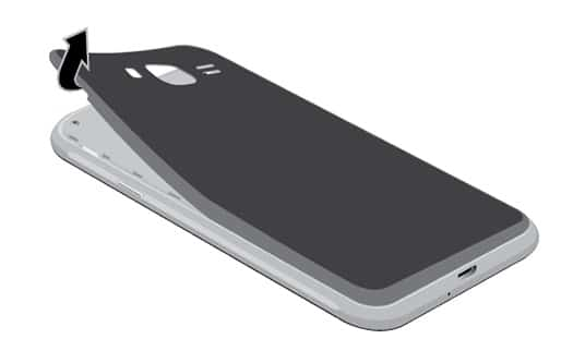 slide and remove the back side of your phone's body
