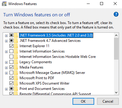 A dialog box will appear of Turn Window features on or off