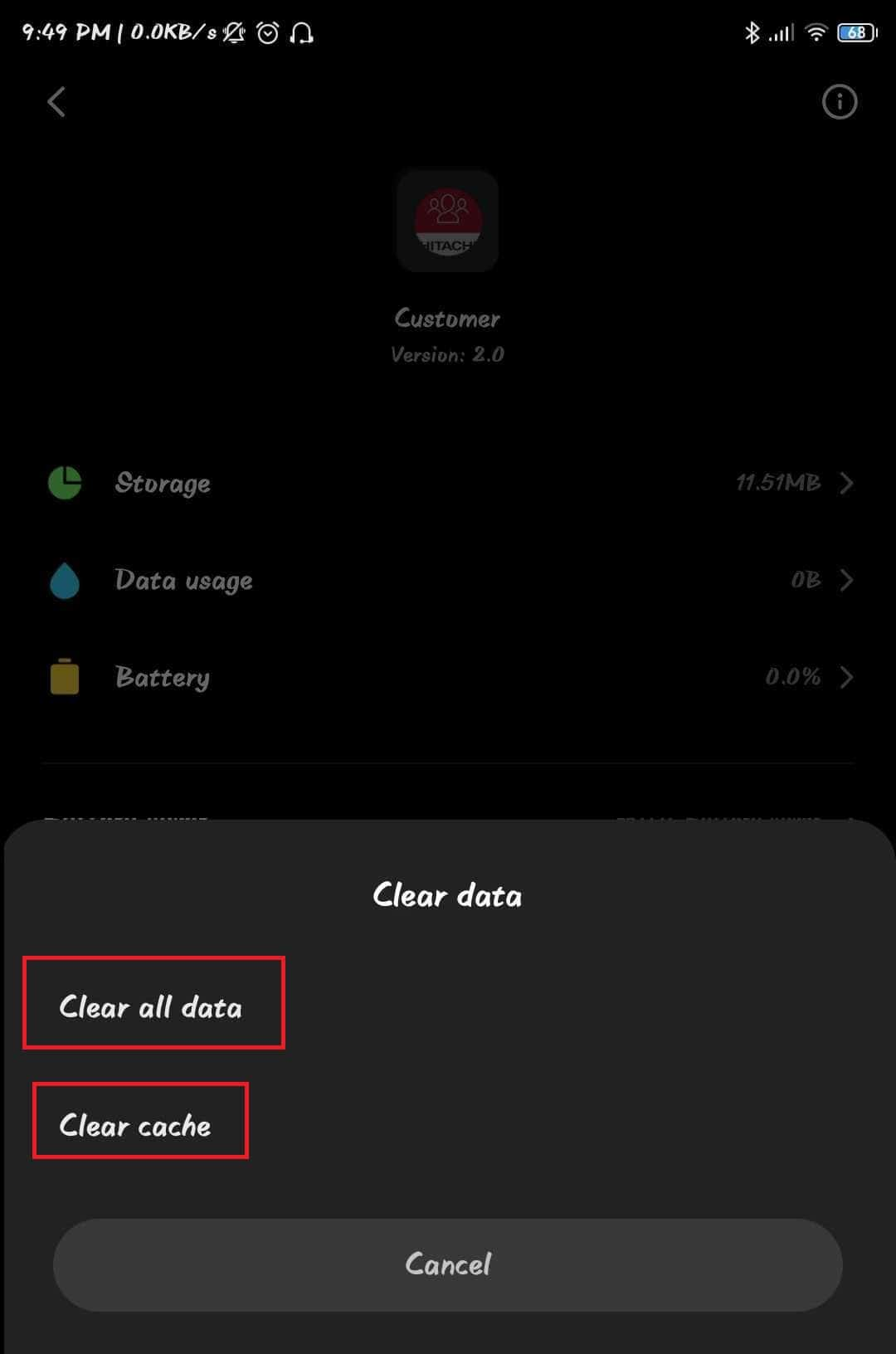"By tapping on both ""Clear Data"" and ""Clear Cache,"" you have essentially removed any extra data from the application."