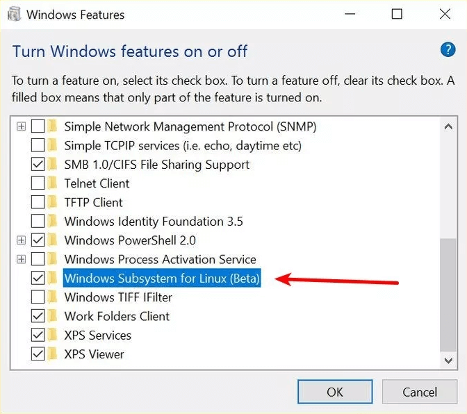 Check the checkbox next to Windows Subsystem for the Linux option | How To Install Linux Bash Shell On Windows 10