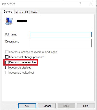 Checkmark-Password-never-expires-box.