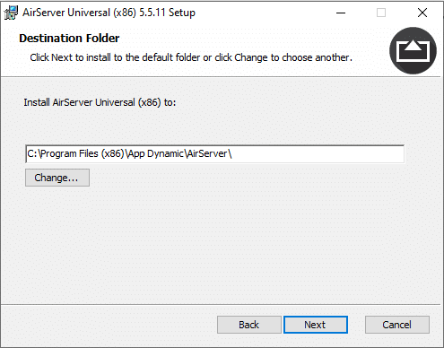 Choose Airserver install location and click next