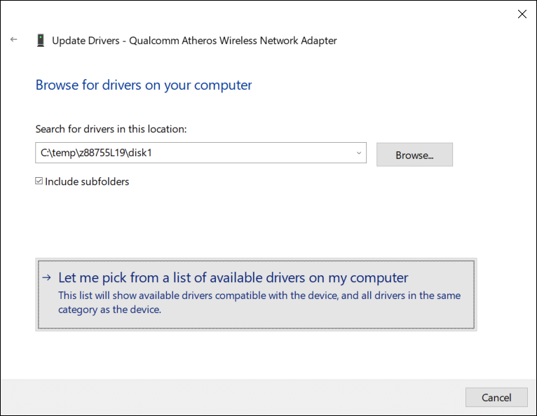 """select """"Let me pick from a list of device drivers on my computer."""""""