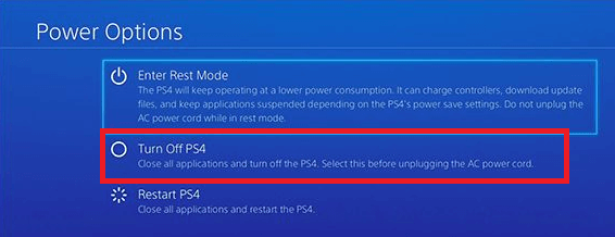 Click on Turn Off PS4