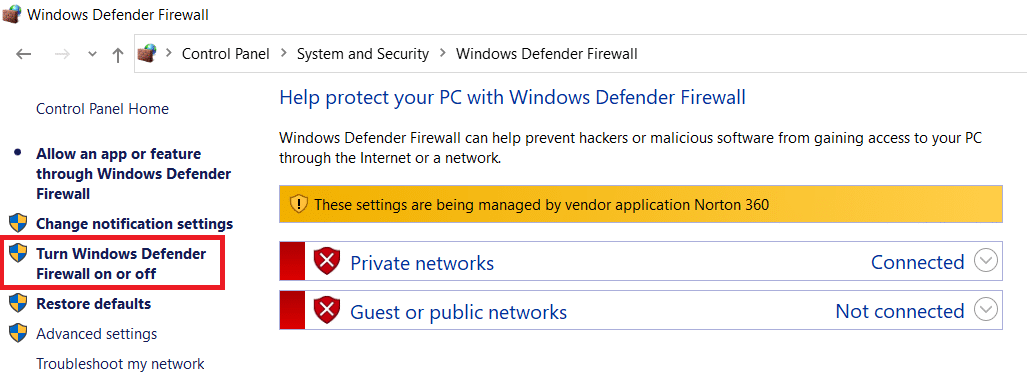 Click on Turn Windows Firewall On Or Off In the Left Pane