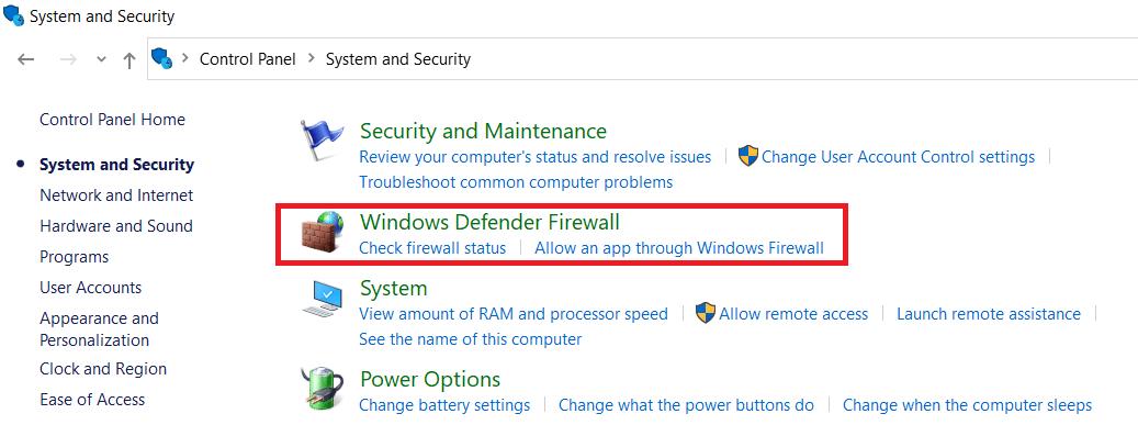 Click on Windows Defender Firewall
