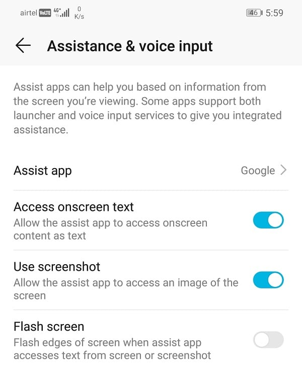 Click on the Assist app option