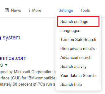 Click on the Search settings
