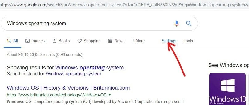 Click on the Settings option right above the results page