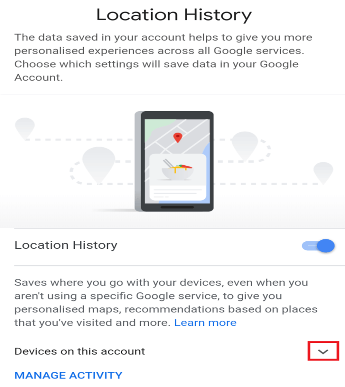 Click on the downward arrow available next to the Devices on this account option