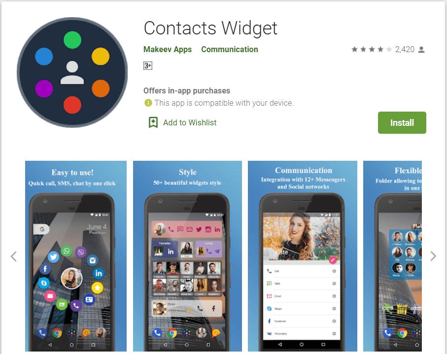 Contacts Widget