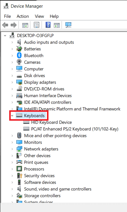 Double click on Keyboards to expand the same