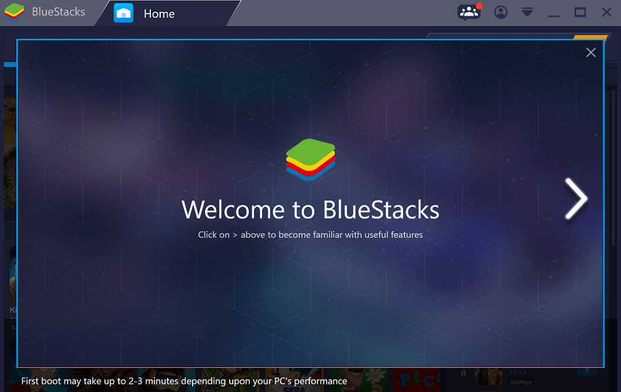 Download Bluestacks on your PC