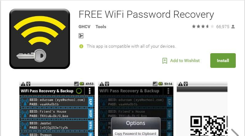 Download the Wi-Fi Password Recovery app from Google Play Store