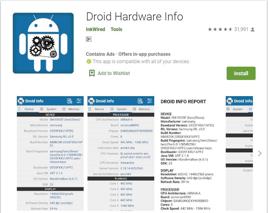 Droid Hardware Info