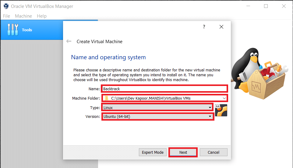 Enter the name for a new virtual machine, then choose the type the OS and version