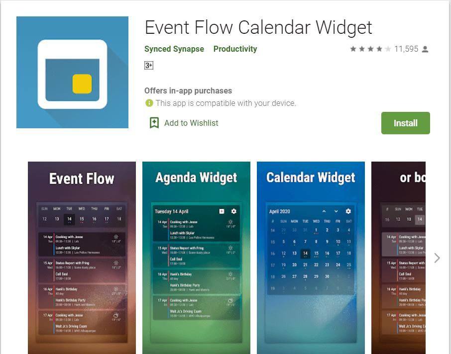 Event Flow Calendar Widget | Best Android Widgets
