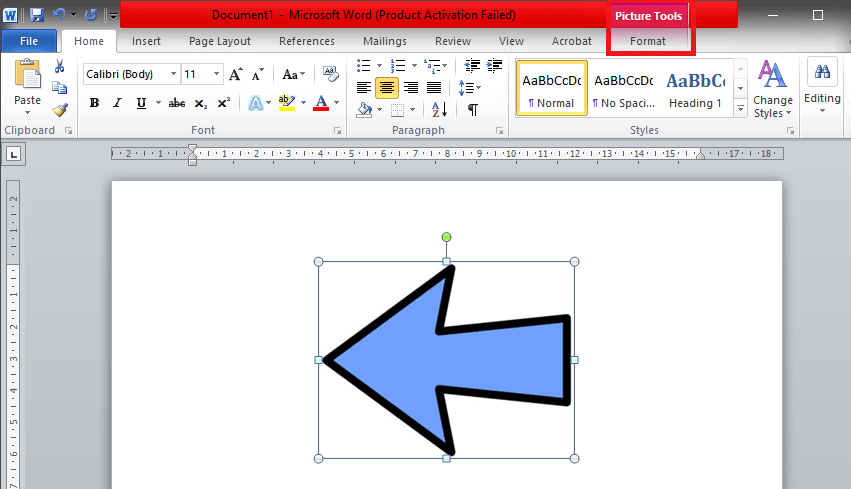 Find the 'Format' tab in the toolbar located on the top